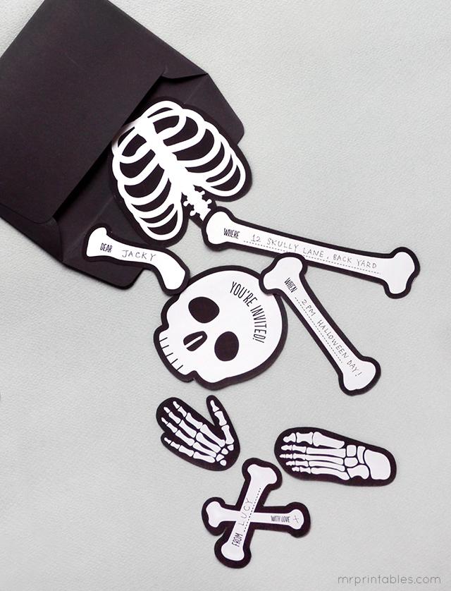 invitation halloween squelette gratuit