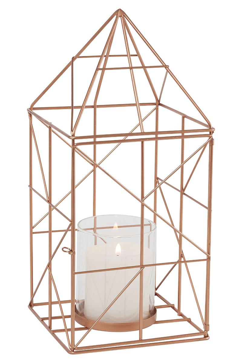 photophore geometrique cuivre