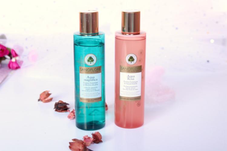 Lotions Sanoflore Aqua Magnifica et Aqua Rosa contenant des hydrolats