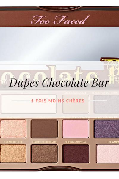 dupes des palettes de maquillage Chocolate Bar