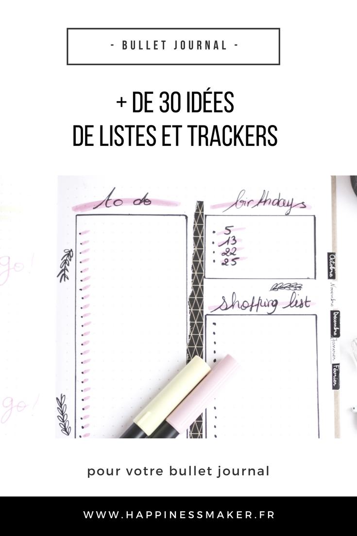 Des idées de listes et trackers pour votre Bullet Journal