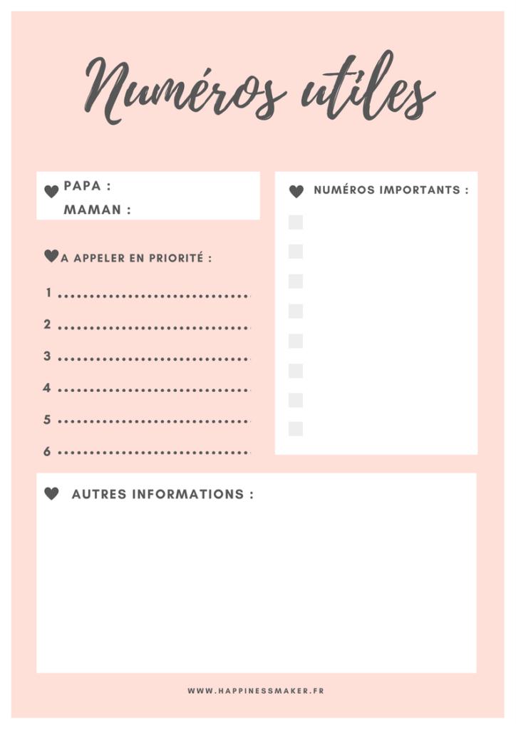 Numéros utiles liste à imprimer gratuit