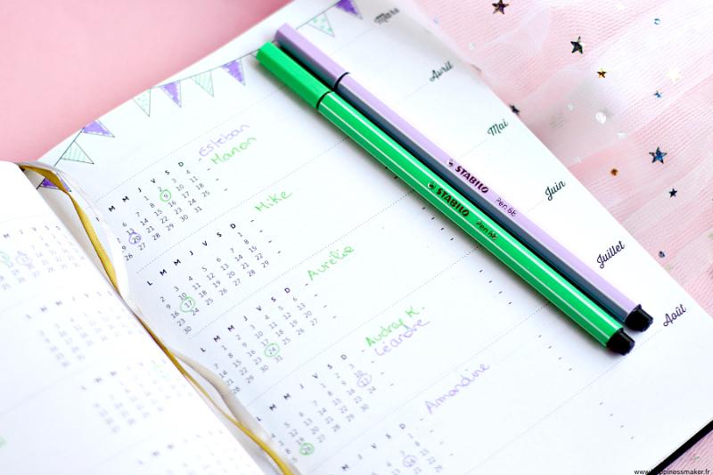 agenda pour noter anniversaires