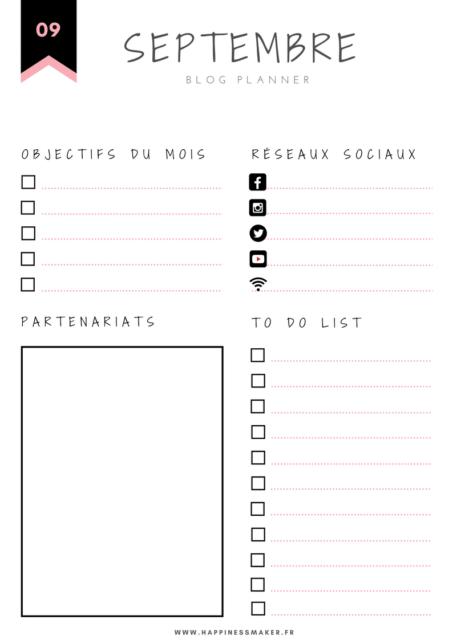 Blog Planner Rentrée