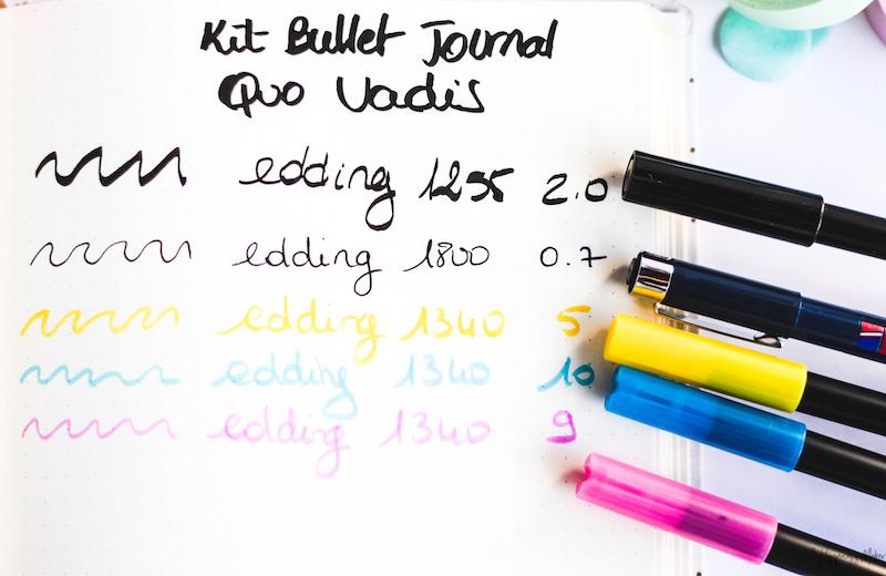 feutres pinceaux edding kit bullet journal quo vadis swatchs