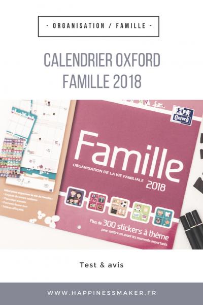 Le calendrier Oxford famille 2018 : L'organisation devient un jeu d'enfant !