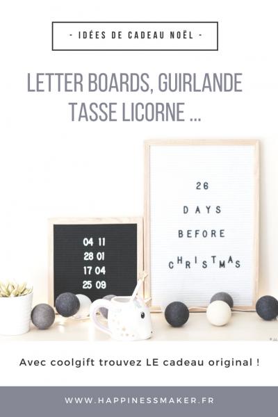 Letter board, tasse licorne … Mes idées de cadeau de noël avec Coolgift !