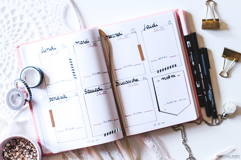 bullet journal idee weekly page