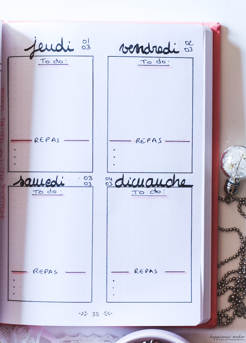 bullet journal page semaine