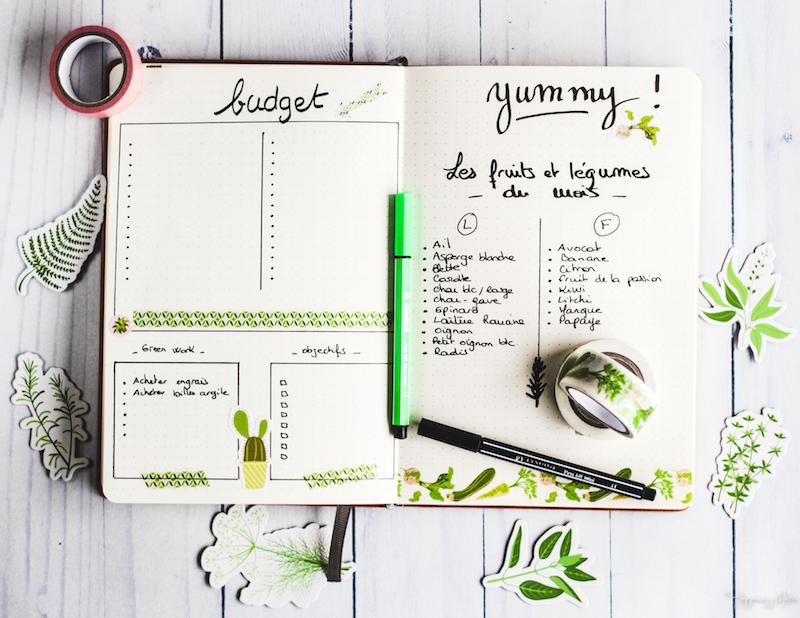 bujo green idées déco de pages