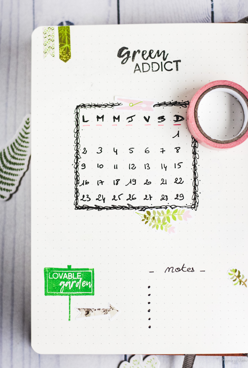 calendrier avril bullet journal