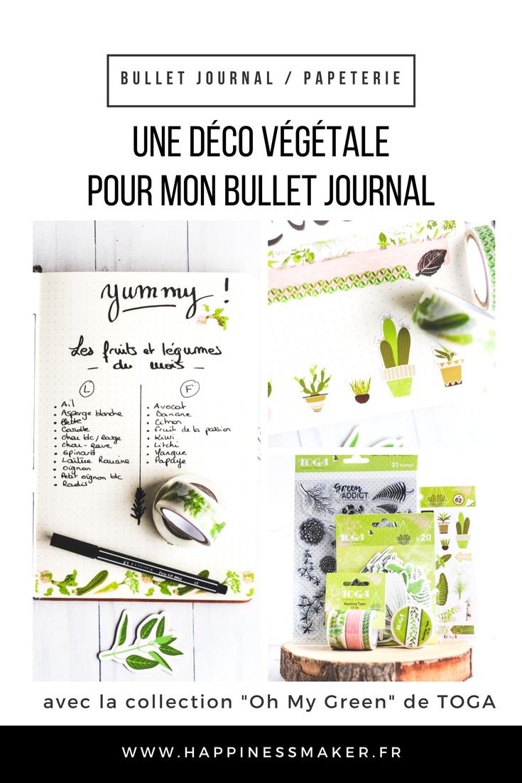 pages déco végétale fleurs feuille printemps bullet journal oh my green toga