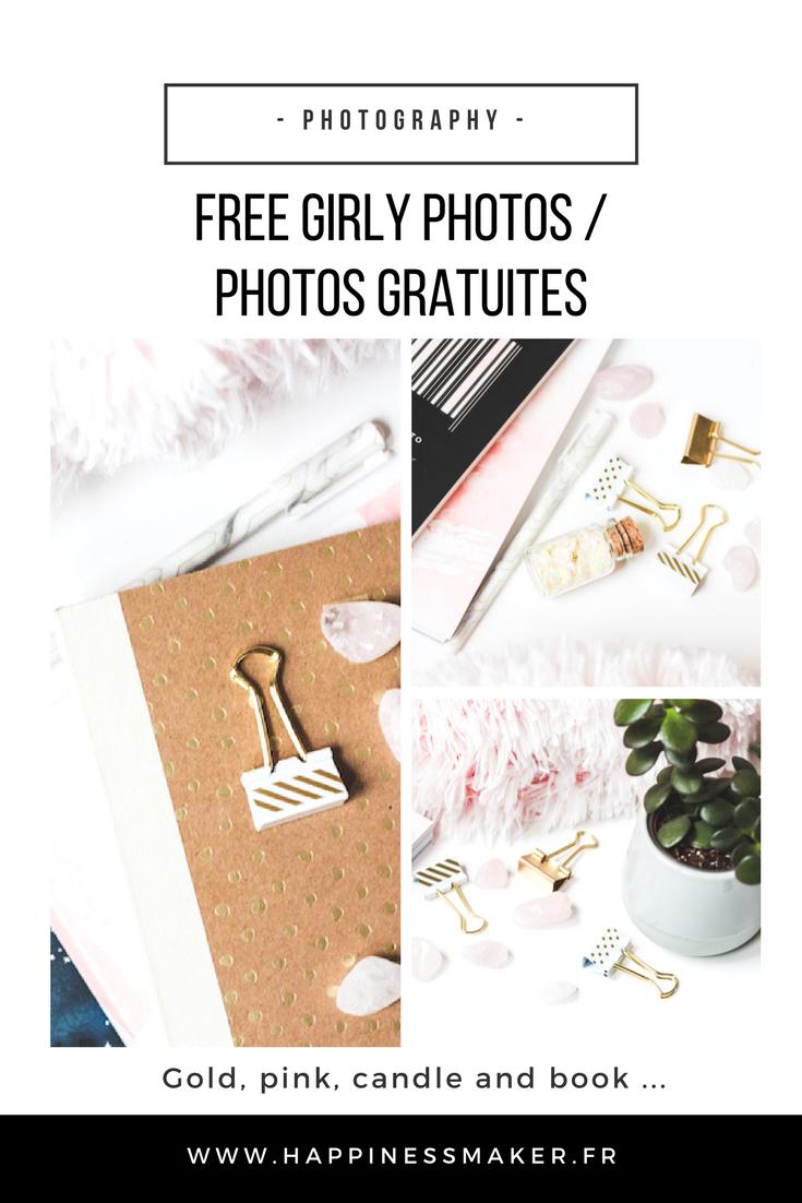 photos féminines gratuites pour blog girly rose doré carnet cactus