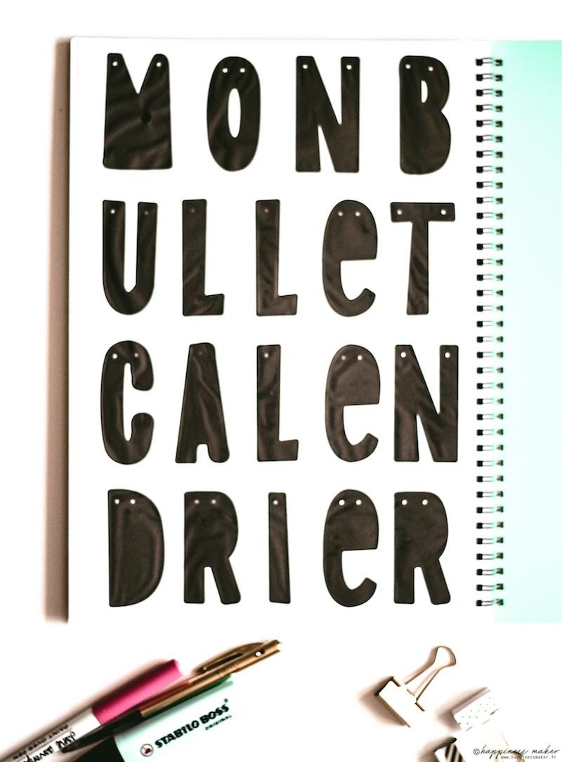 mon bullet calendrier guirlande lettres