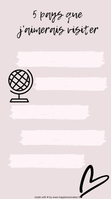 5 pays à visiter instagram storie