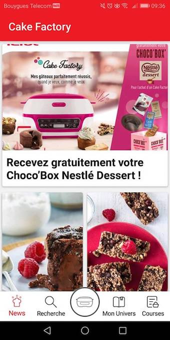 cake factory de tefal application mobile