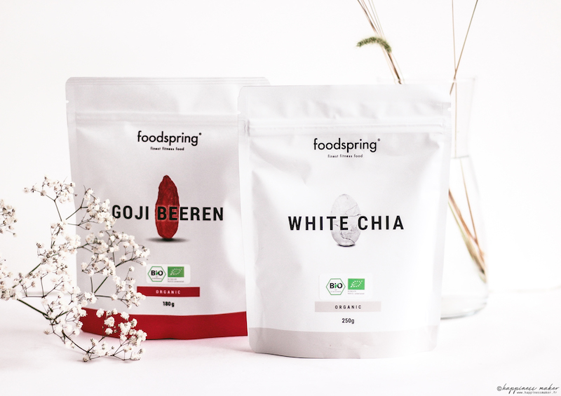 foodspring avis produits baies goji white chia