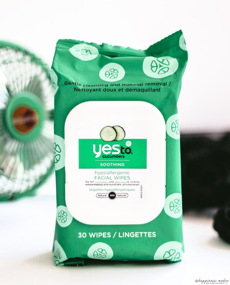 yes to gamme concombre peaux sensibles test lingette