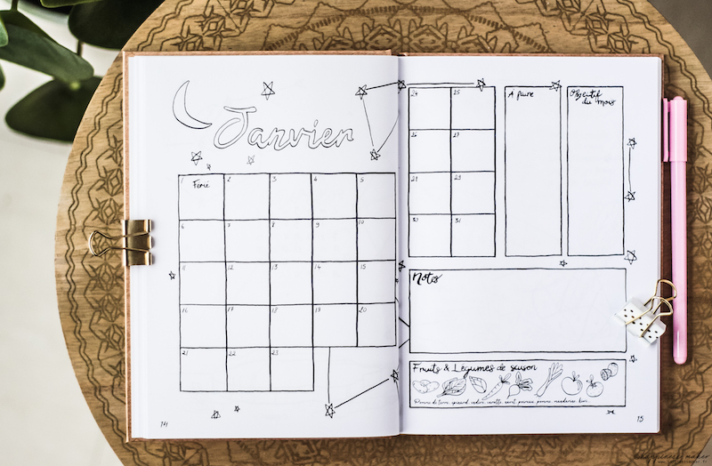bullet journal solutia association reves calendrier mensuel