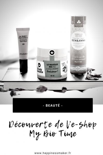 Découverte de my bio time boutique en ligne cosmétiques naturels bio