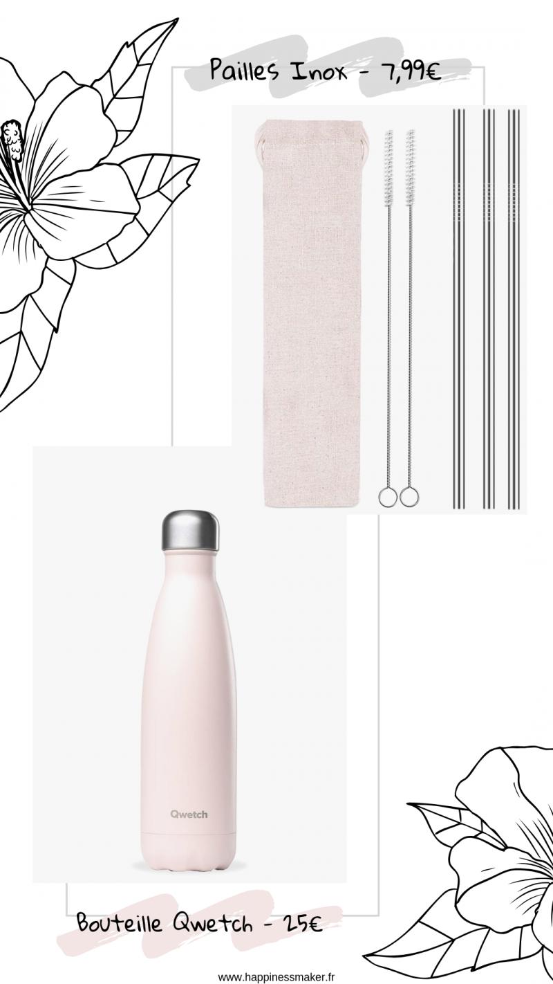 économies plastique gourde pailles réutilisables