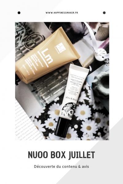 contenu de la box beauté naturelle Nuoo Box du mois de juillet 2019