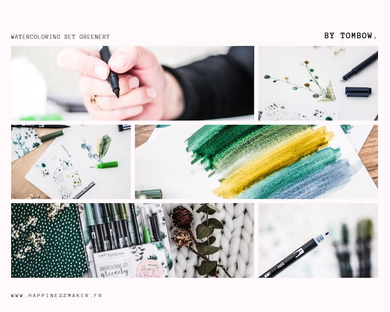 watercoloring set greenery tombow