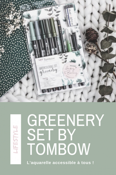 watercoloring set greenery tombow test et avis