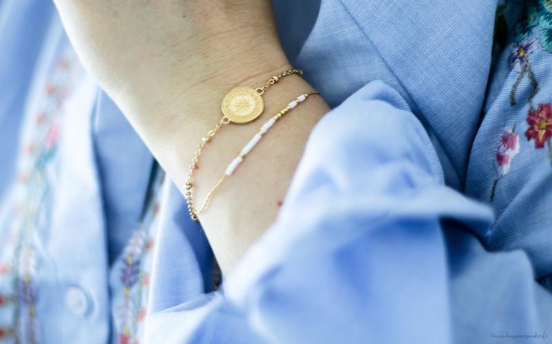 bracelets tendances minimalistes perle or acier