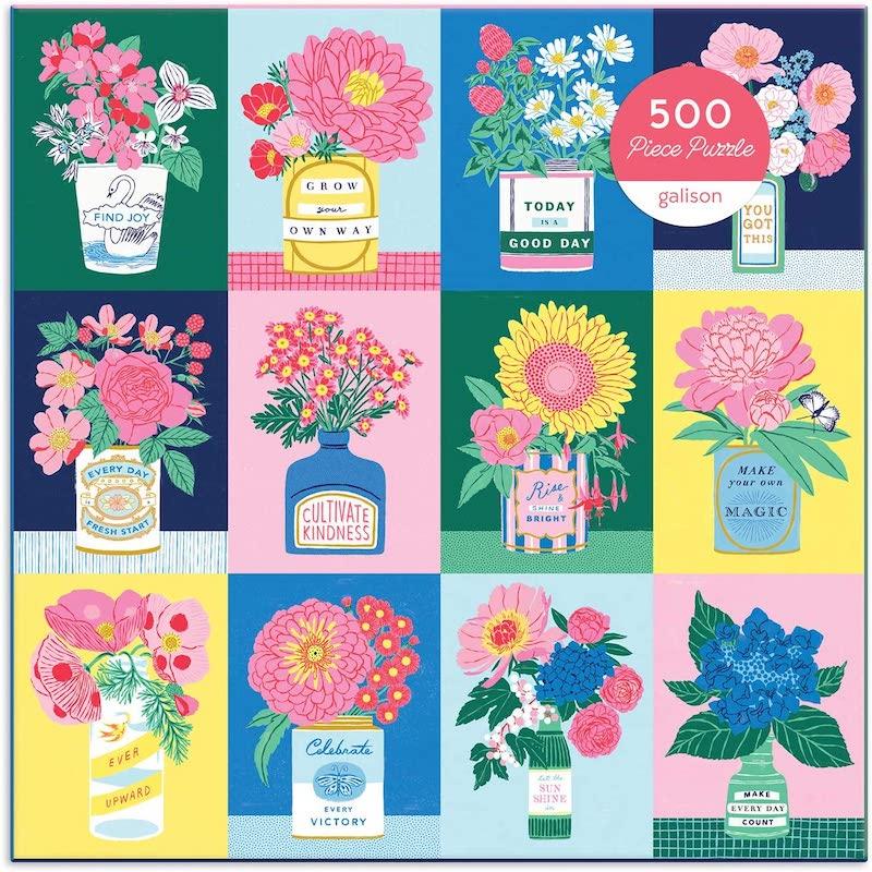 puzzle fleurs colorés motivation